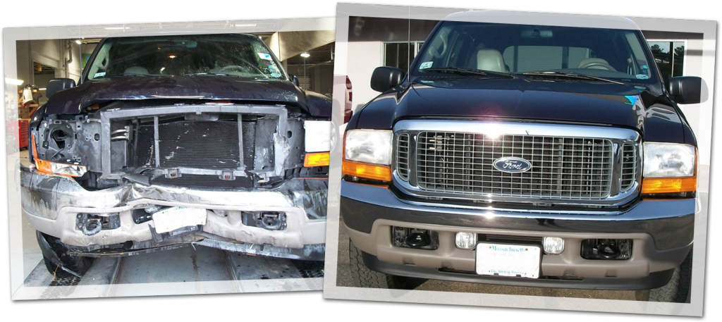 Rick's Auto Body Before and After Truck